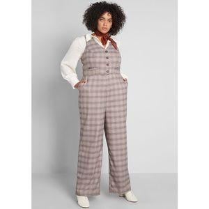Modcloth Plaid Appeal Vest Jumpsuit Pockets sz 26